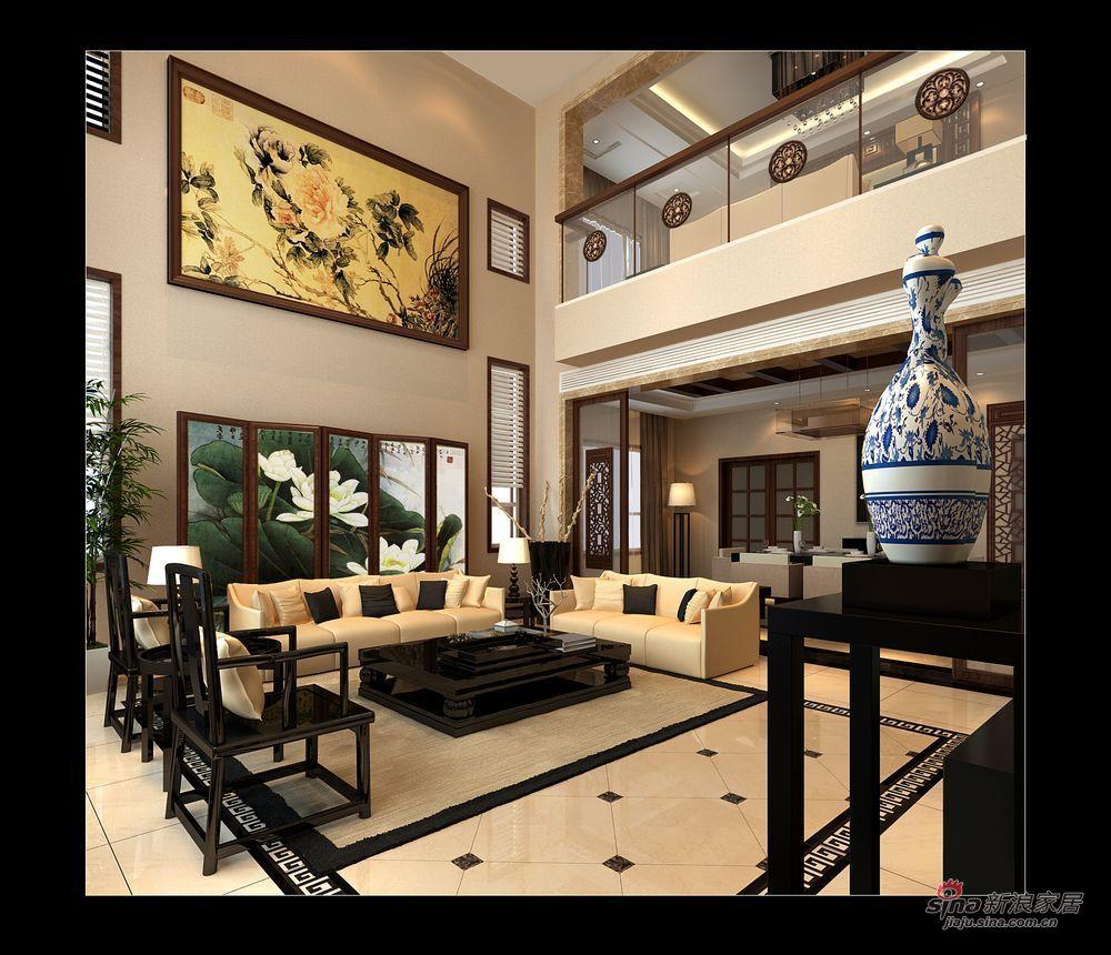中式 别墅 客厅图片来自用户1907662981在实景230平大气新中式别墅87的分享