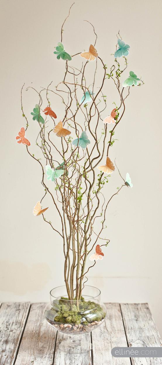 DIY-用树枝和纸蝴蝶DIY桌花教程 有时候动动手,就能创造生活的艺术!