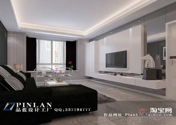 黑白调客厅设计,灰镜电视背景墙
