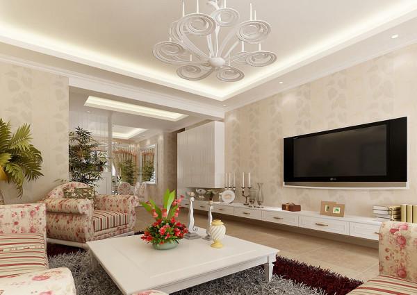 淡黄的壁纸,碎花布艺沙发,乳白色家具,无法抵挡的美式风格优雅情调