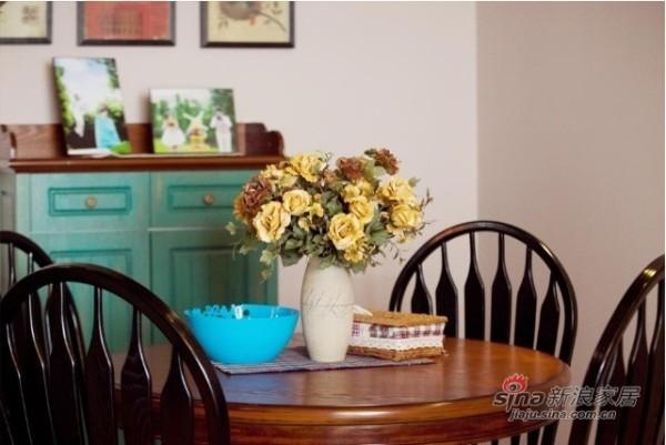 美式乡村-装修效果图-餐厅:餐桌颜色多采