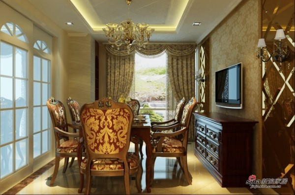 欧式 三居 餐厅图片来自用户2745758987在11万铸造130平欧式风格三居室49的分享