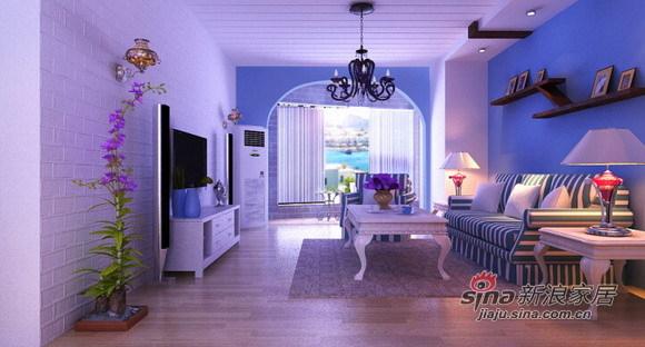地中海 三居 客厅图片来自用户2757320995在独领地中海范的125平设计16的分享