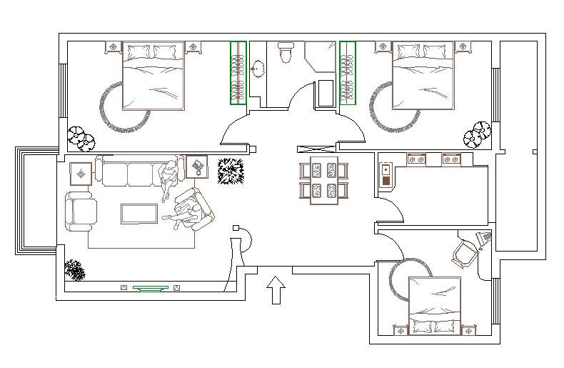 简约 三居 户型图图片来自用户2737759857在山西大同绿洲高层56的分享