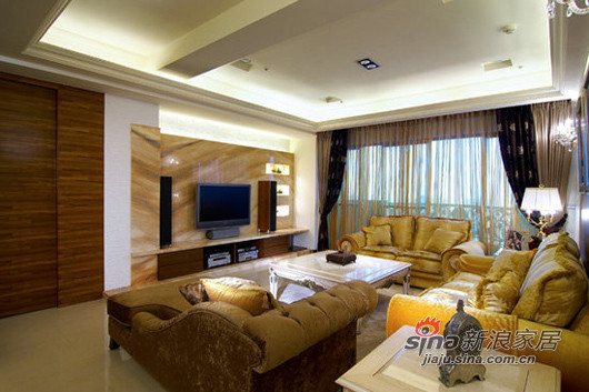 电视主墙以大理石铺陈,利用原始凹槽的结构