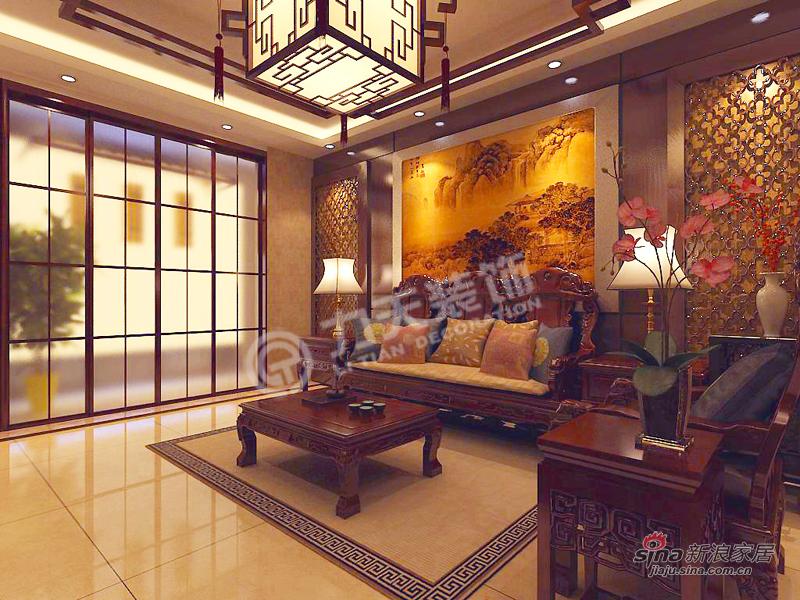中式 二居 客厅图片来自阳光力天装饰在天地源欧築1898-2室2厅1卫1厨 -中式风格21的分享