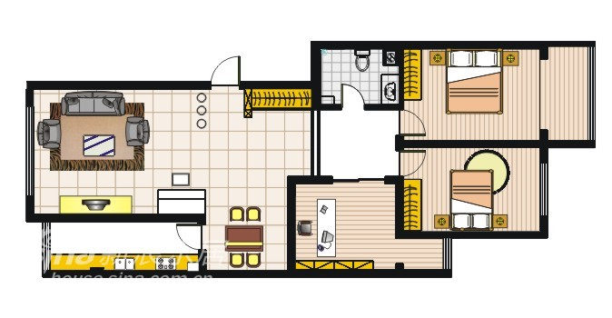 简约 二居 户型图图片来自用户2737782783在太原市 简约主义50的分享