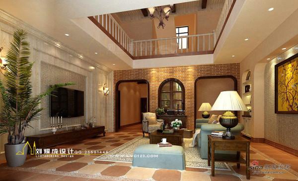 美式乡村风格别墅客厅1