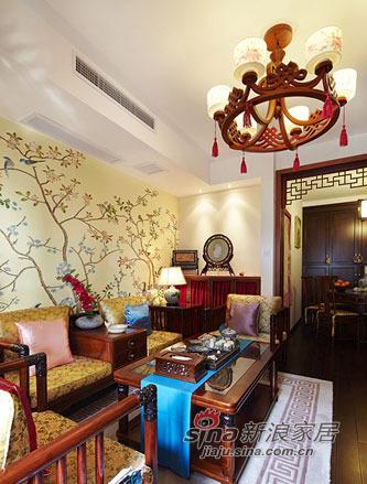 中式 三居 客厅图片来自用户1907659705在4.8万打造67平香艳中式家47的分享