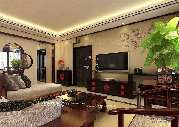 中式风格客厅电视墙设计