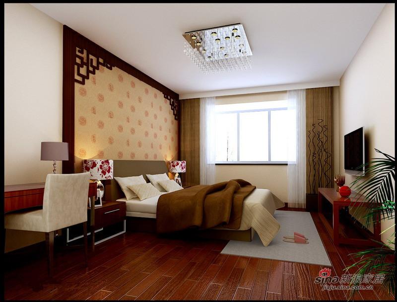 中式 三居 卧室图片来自用户1907696363在130平静谧优雅古典中式三居花8万16的分享