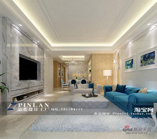 简欧风格客厅设计,爵士白背景墙设计
