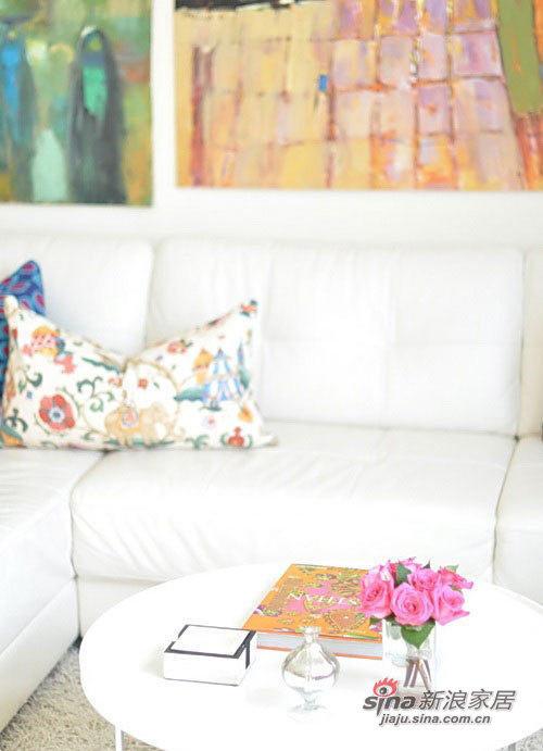 沙发局部,靠垫是宜家风格的。