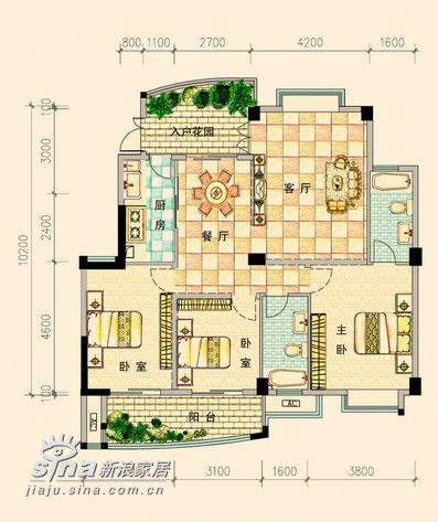 简约 三居 户型图图片来自用户2557010253在金色晓岛538的分享