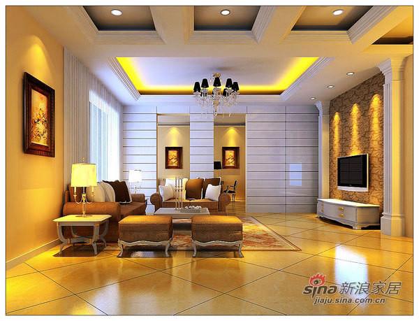 龙山华府欧美风情复式美宅设计案例-客厅