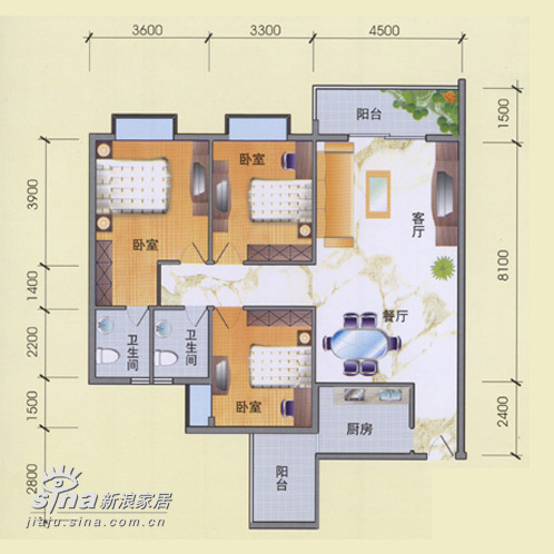 简约 三居 户型图图片来自用户2737735823在紫金华庭39的分享
