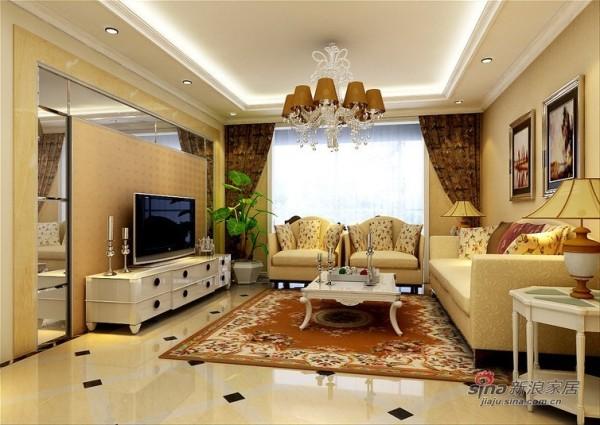 美林君渡110平美式客厅设计效果图
