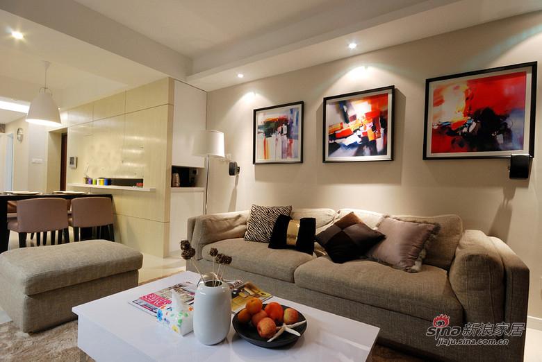 现代 二居 客厅图片来自装修微日记在【高清】新婚夫妻90平现代暖色调两居18的分享