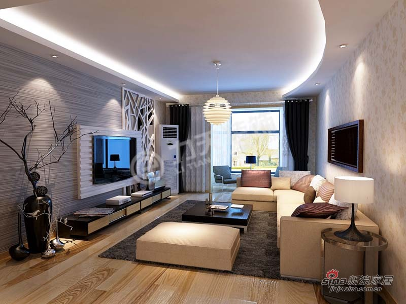 简约 三居 客厅图片来自阳光力天装饰在香水湾-三室二厅二卫一厨-现代简约60的分享