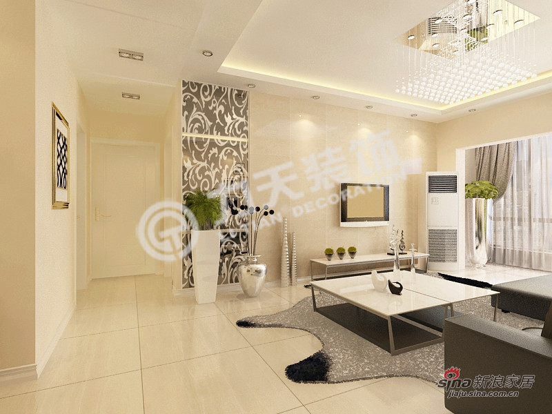 简约 二居 客厅图片来自阳光力天装饰在和平时光-两室一厅-现代简约61的分享