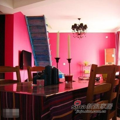 混搭 复式 餐厅图片来自用户1907689327在12万装130平惊艳色彩复式94的分享