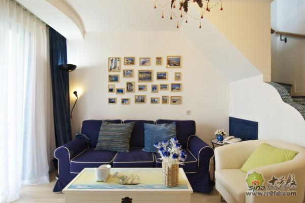 地中海风 蓝白沙发