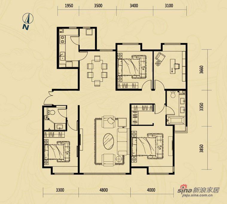 欧式 四居 户型图图片来自用户2746953981在简欧的家舒适的家52的分享