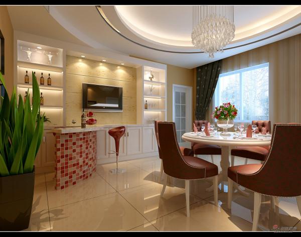 简易吧台、设置一块电视区,用餐也可看电视