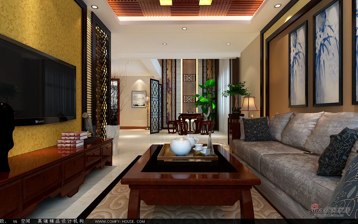 中式 别墅 客厅图片来自用户1907662981在新中式风格设计84的分享