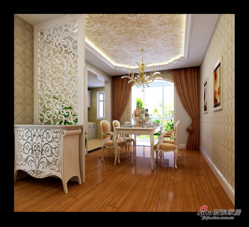 欧式 三居 餐厅图片来自用户2772873991在硬装6万装120㎡欧式鹅黄3居室52的分享