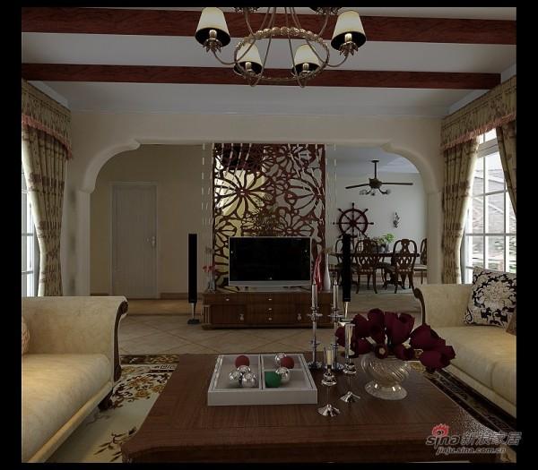 客厅二:原生态的吊顶与沙发展示柜的呼应,