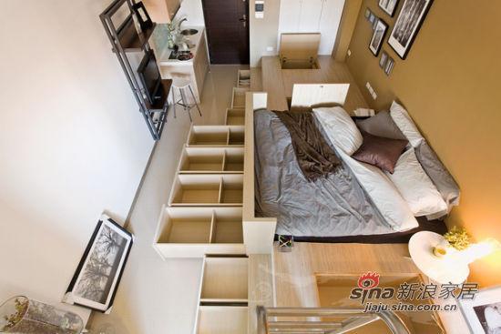 现代 一居 客厅图片来自佰辰生活装饰在26平极简现代时尚风格蜗居71的分享