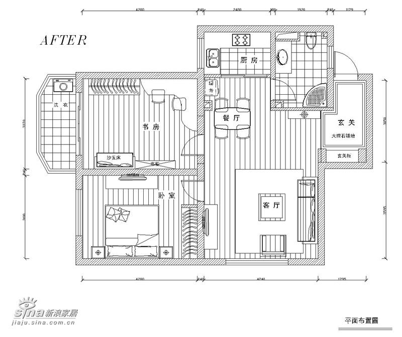 简约 二居 户型图图片来自用户2737786973在80平米的浪漫满屋37的分享