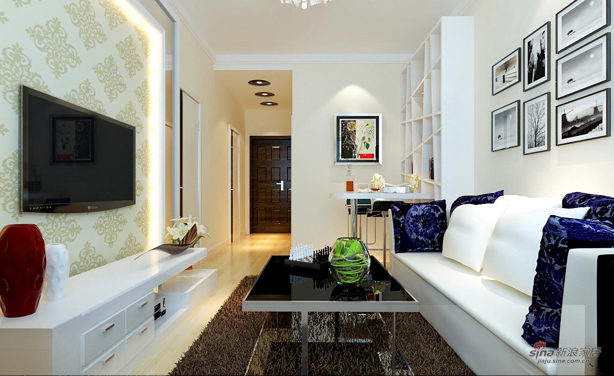 """简约 一居 客厅图片来自用户2557010253在屌丝女-""""灵魂""""和""""精髓""""的50平黑白灰空间62的分享"""
