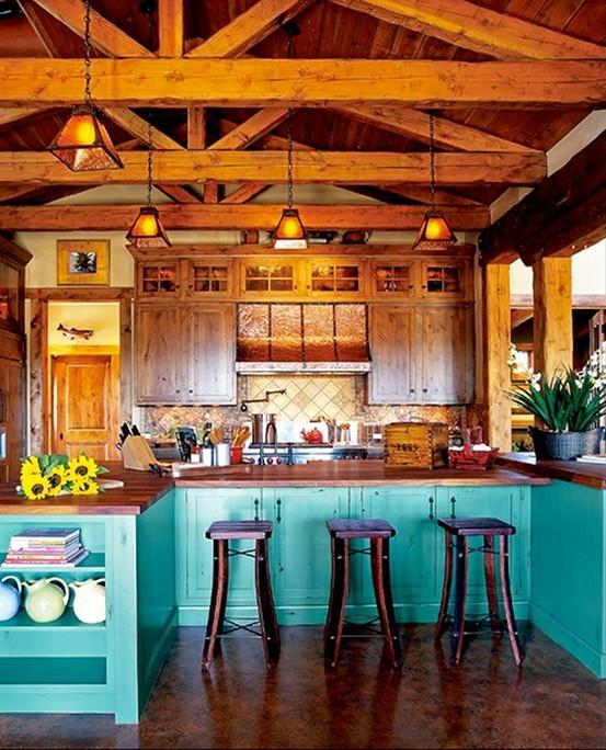 厨房 餐台 餐椅 清新 糖果色图片来自用户2771736967在简单而自然 17个北欧乡村风格厨房装修的分享