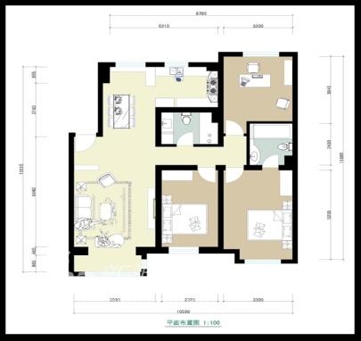 欧式 三居 户型图图片来自用户2745758987在万科城-现代欧式情调28的分享