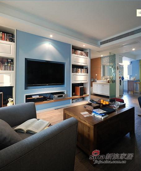 蓝色电视背景墙