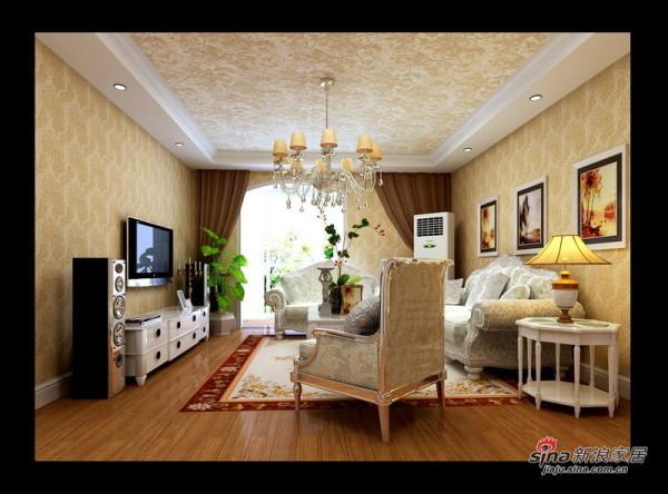 欧式 三居 客厅图片来自用户2772873991在硬装6万装120㎡欧式鹅黄3居室52的分享