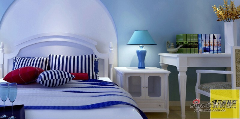 地中海 二居 卧室图片来自用户2756243717在实景装修地中海风格,7万精装96平米二居76的分享