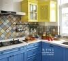 地中海风格的厨房,蓝色很帅!