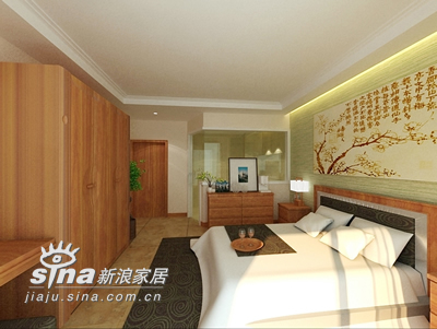 中式 三居 卧室图片来自用户2757926655在暖调中式 温情人居86的分享