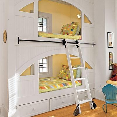 如果我有两个女儿,我会选择这样一个如童话当中的小屋的双层床。