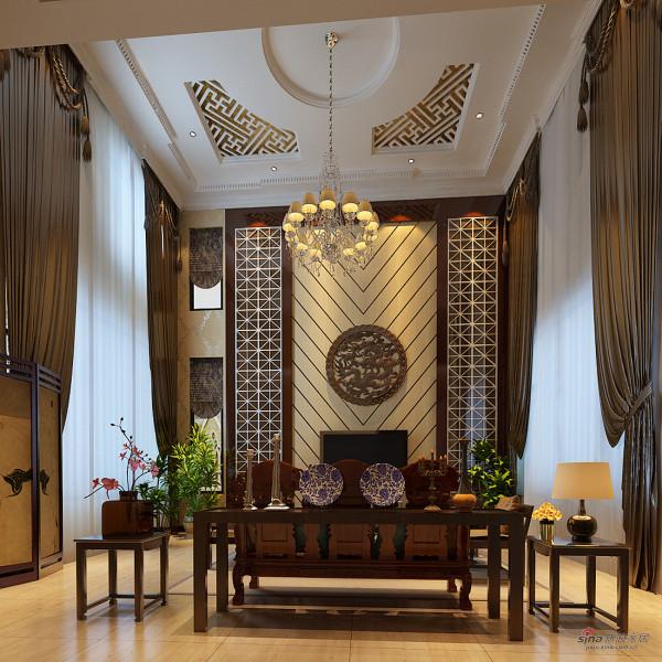 北京湾独栋别墅简中式客厅设计图