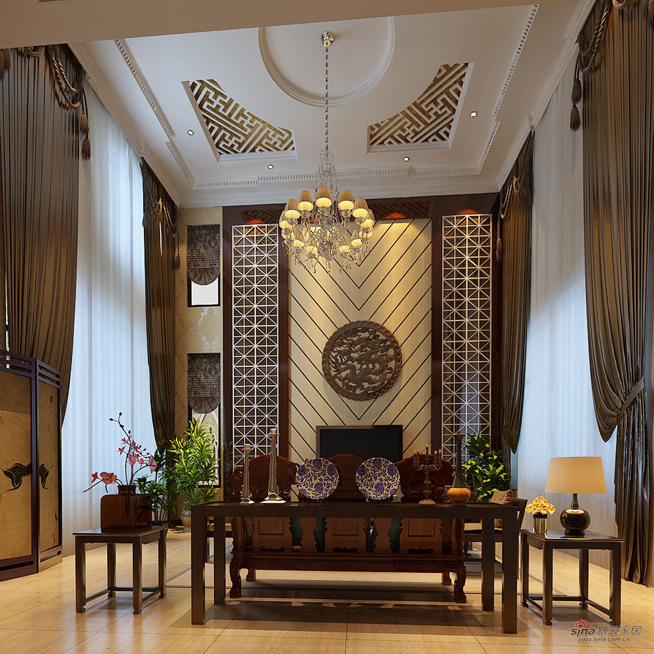 客厅别墅别墅来自图片1907659705在北京湾345平简中式独栋别墅装修18门用户碳化图片