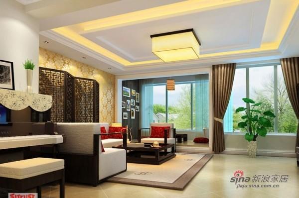 客厅简单的修饰既有中式的风格又给人以时尚