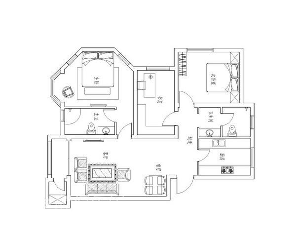 简约 二居 户型图图片来自用户2737759857在顶秀美泉C2经典地中海混搭家园10的分享
