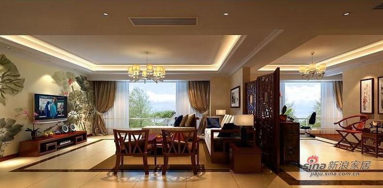 中式 三居 客厅图片来自用户1907662981在6万装143平新中式风格三居20的分享