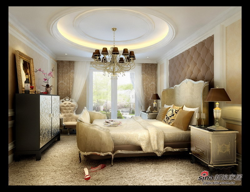 欧式 三居 卧室图片来自用户2772873991在硬装6万装120㎡欧式鹅黄3居室52的分享