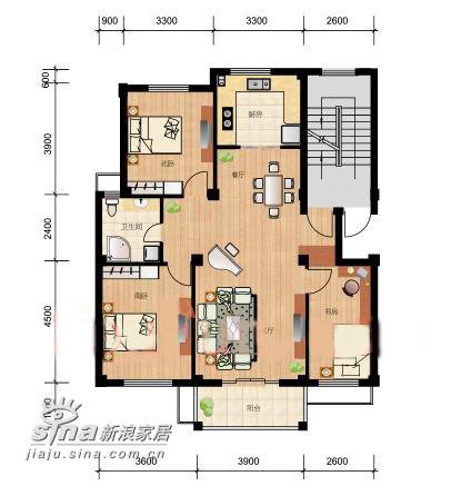 简约 三居 户型图图片来自用户2738093703在君蓓小区26的分享