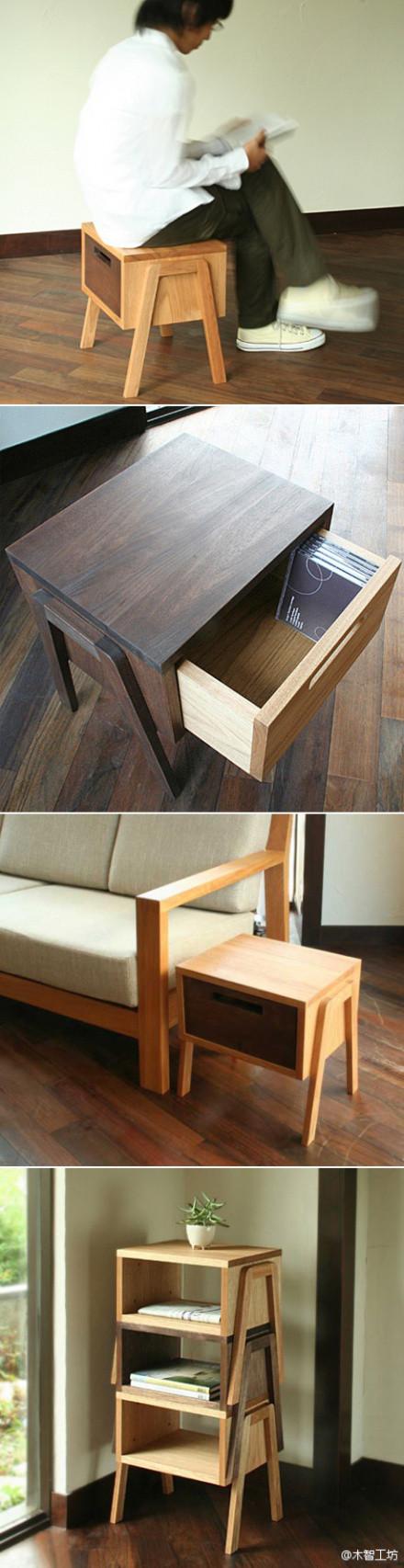 既是边桌,也是矮凳,还可以堆放起来成为一个置物架。设计师Daisuke Shimizu的作品Tokotoko stool。